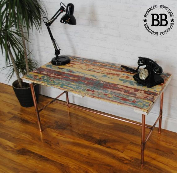 Boat plank copper pipe reclaimed console by
