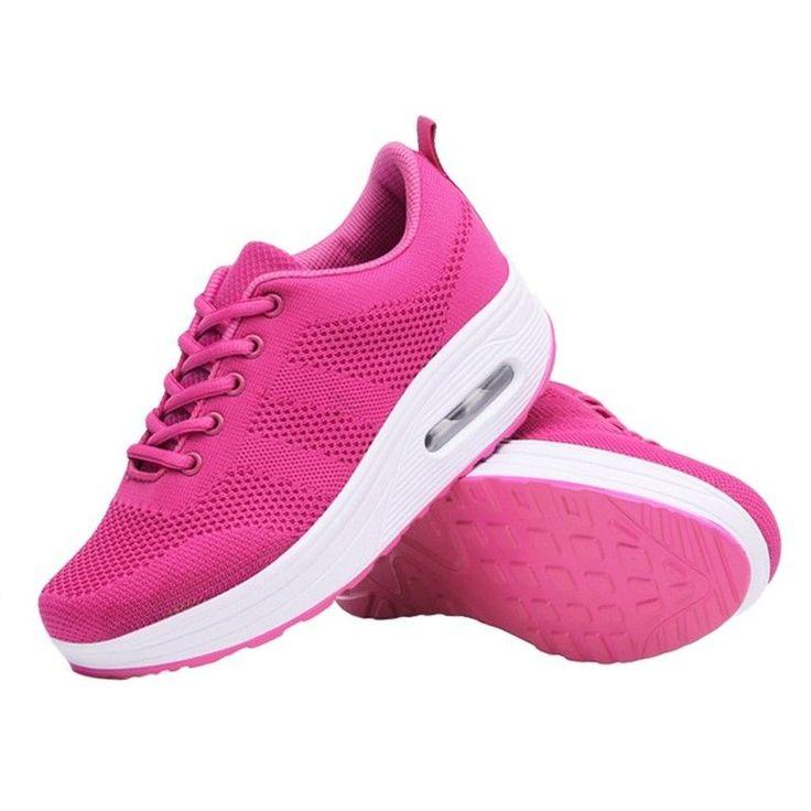 Pop Women Wedge Sneakers Fashion Comfort Mesh Shoes Lightweight High Platform