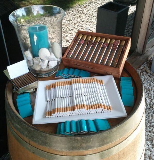 Qué te parece hacer un rincón de fumadores en el exterior con algo parecido a esto y unas sillas? Esto substituiría el repartir los cigarros y los puros, ya que no todos fumamos y carece de sentido hoy en día (creo que cada vez está más en desuso...) Dime que te parece ;)