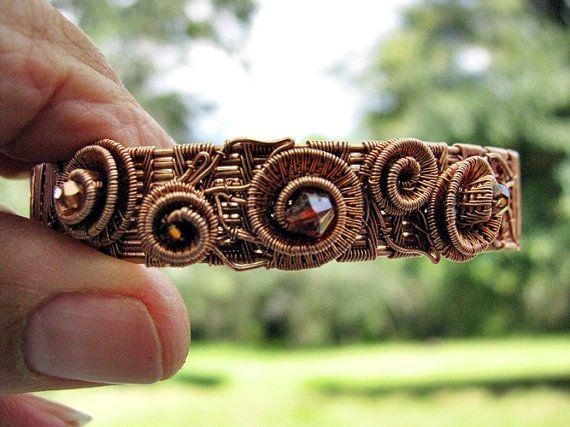 Copper Woven Rosebud Bracelet with Swarovski by RoSanCustomJewelry