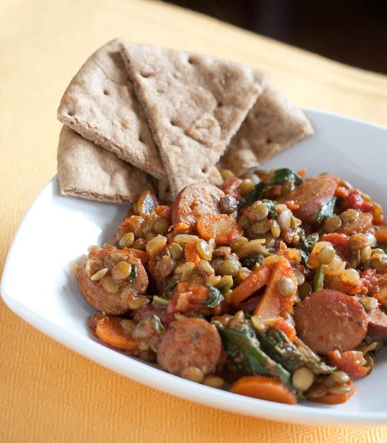 Indian spiced lentils with chicken sausage: Spices Lentils, Erin Food, Daily Food, Indian Spices, Enjoying Lentils, Indian Food, Food File, Indian Lentils, W Chicken Sausages