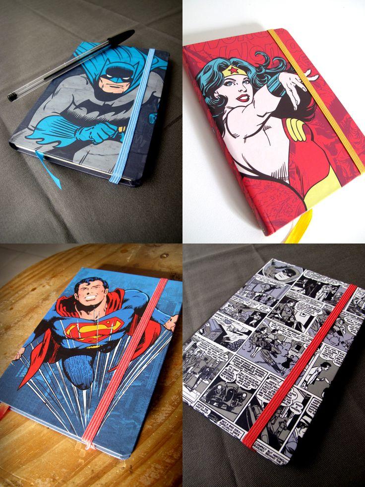 Cadernetas tipo moleskine com os super heróis da DC Comics!  http://goo.gl/UjEcfL