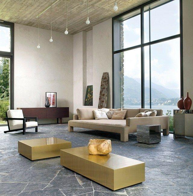 Wohnzimmer Gestalten Ideen Kommode Goldtisch Sofa