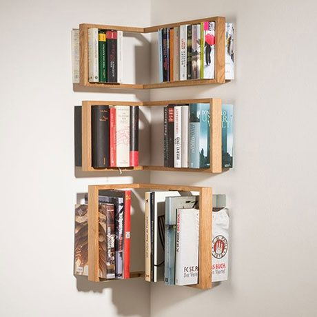 B1 Corner Shelf: This great bookshelf helps you make use of your room's corners and give your books a cool hovering effect.