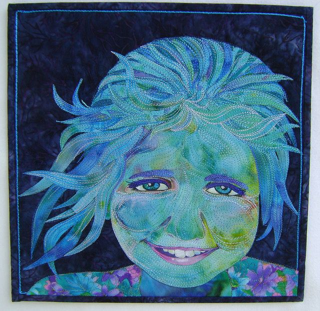 Mary Transom - Quilt Artist Blue Girl, portrait of my great niece