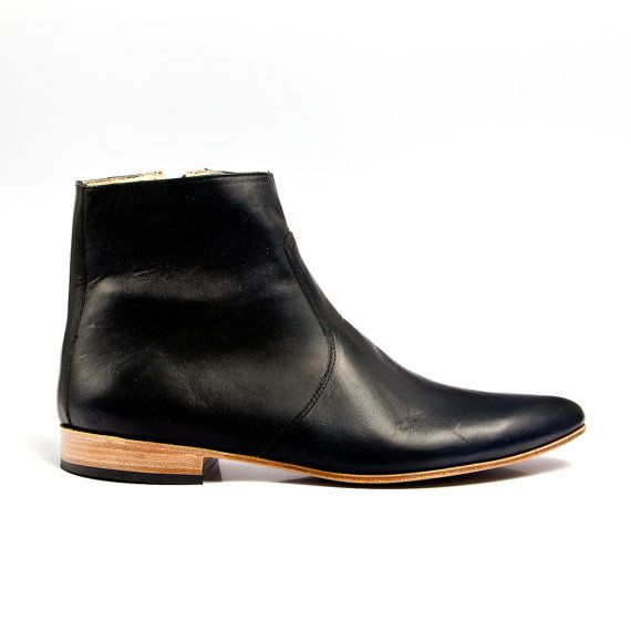 black leather beatle boots   FREE SHIPPING by goodbyefolk on Etsy, $280.00