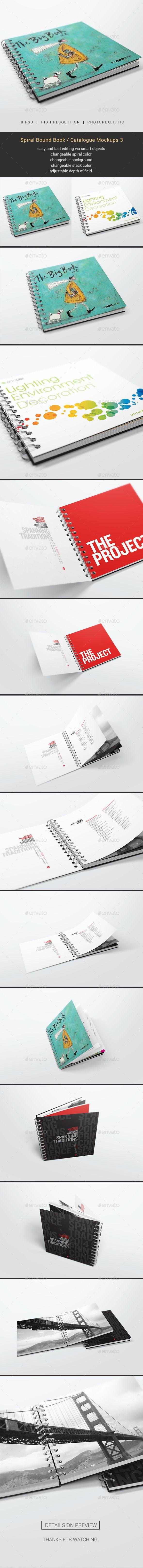 Spiral Bound Book / Catalogue Mockups 3