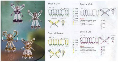 новогодние ангелочки из бисера и бусин, схема плетения