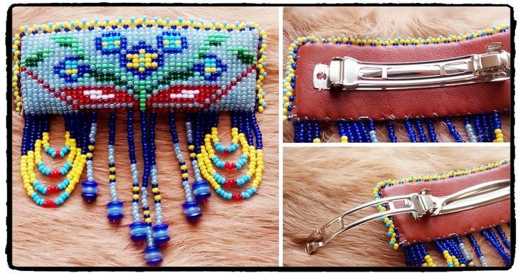 Barrette de perles amérindiennes #ap001-16 avec motif de la fleur montagnaise. D'une longueur de 4 pouces, 3.5 pouce de largeur 50$/can + taxes et livraison Création de Alyce Paishk