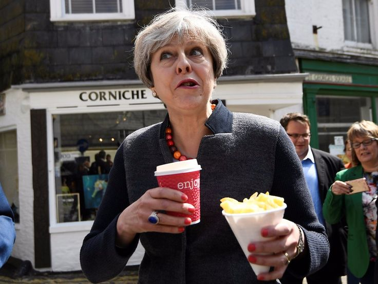 LONDON — Theresa May visited Cornwall on the south coast of England today in the latest leg of her general election campaign.   The prime minister has been criticised during these visits for excluding journalists and holding events behind closed door http://aspost.com/post/The-Tories-trap-journalists-in-a-room-as-Theresa-May-awkwardly-eats-chips-in-Cornwall/24627 #finance #stockquotes #financenews #resources…