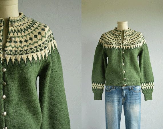 Vintage 1950s Nordic Wool Fair Isle Cardigan / 50s Hand Knit Norwegian Sweater Olive Green Cream