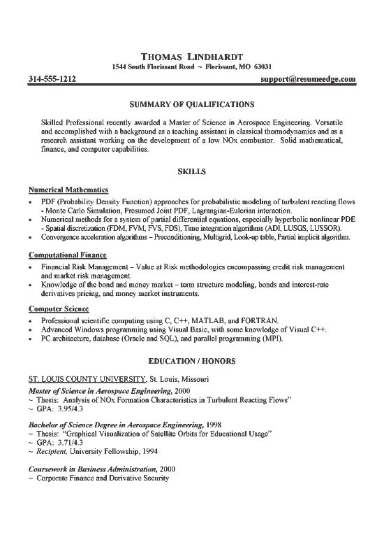 aerospace engineer resume example - Free Resume Sample