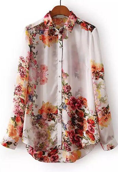 White Long Sleeve Floral Slim Chiffon Blouse - Sheinside.com