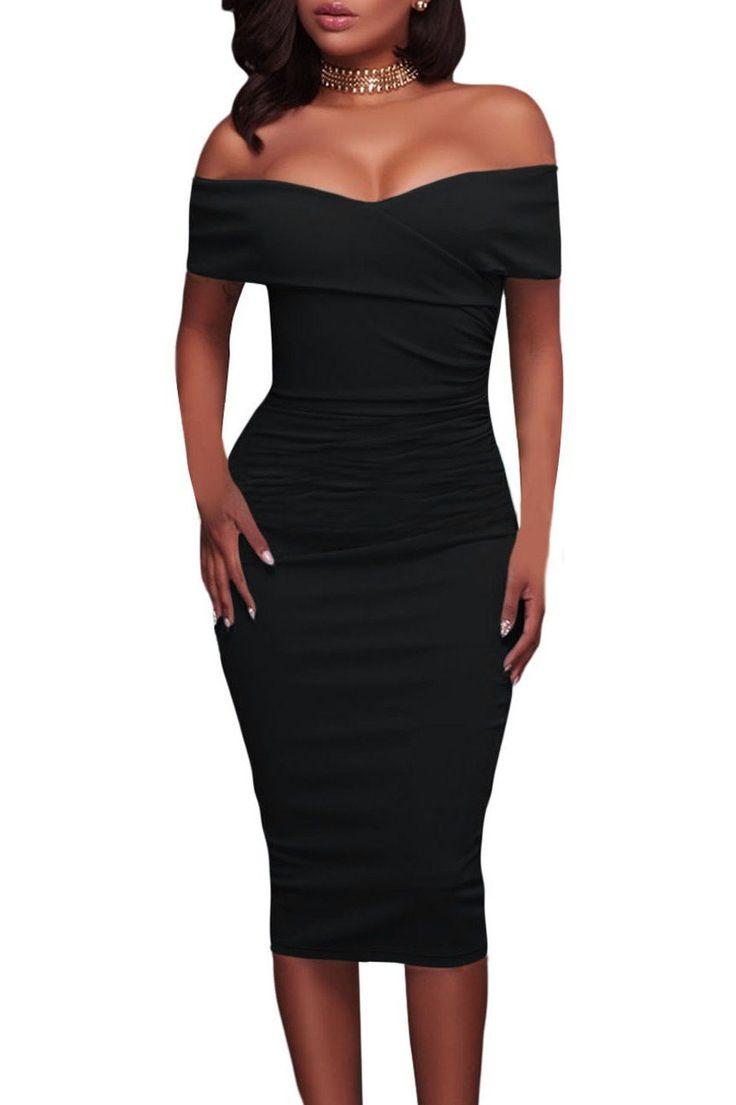 Robe Mi Longue Femme Noire Ruche Col Bardot Moulante Pas Cher www.modebuy.com @Modebuy #Modebuy #Noir #style #party #styles #occasion