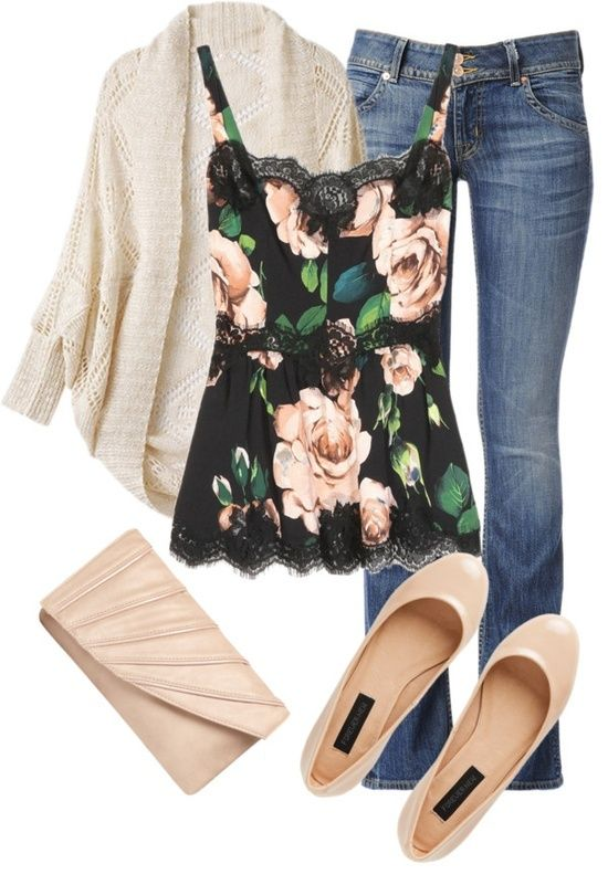 Comfy cardigan, floral tank, jeans, and ballet flats. <3 it! My kind of outfit!