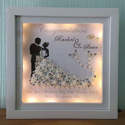 Wedding/anniversary led light box personalised deep box frame mr mrs diamantes