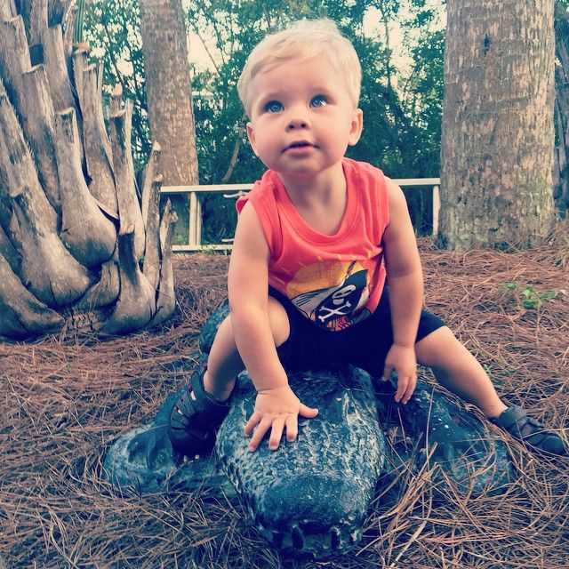 Ollie wrestled an alligator tonight!  what a cutie
