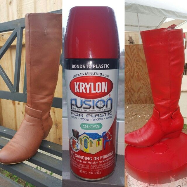 DIY Wonder Woman boots! $7 boots from Goodwill and $4 Krylon Fusion spray paint. Just need to paint the white stripe now.