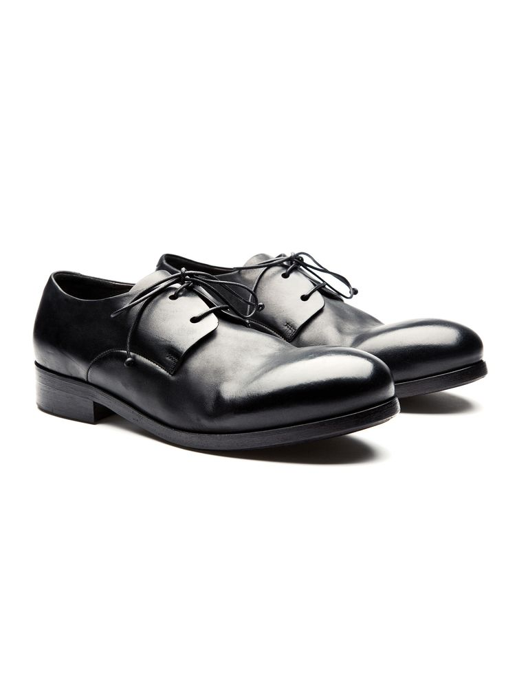 Marsèll - Fall Winter 2014 - Menswear // Black Leather Zucchina Shoes In Leather