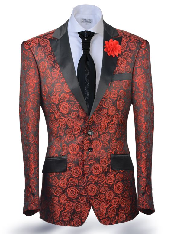Angelino Fashion Blazer and sport coat, small rose pattern woven blend fabric with black satin lapel and pocket flaps