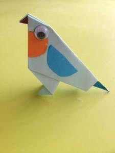 Blau vogeltje vouwen. Origami. Knutselen met kinderen.