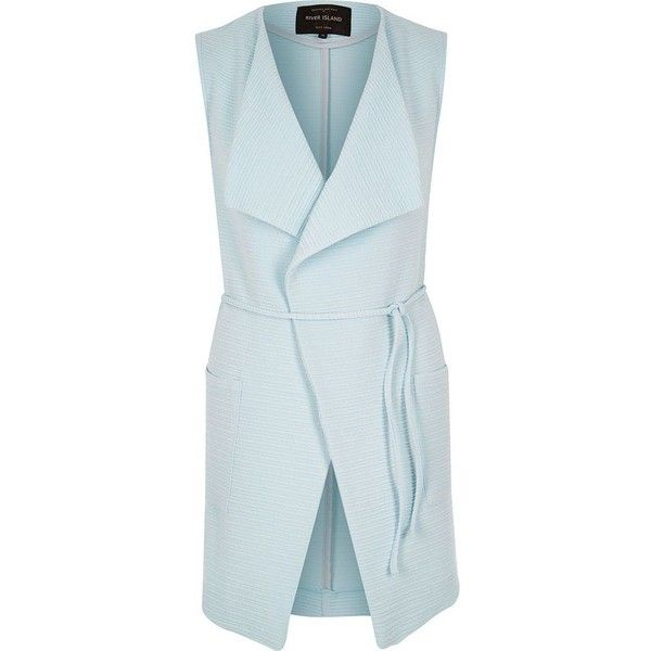 River Island Blue textured sleeveless jacket ($54) ❤ liked on Polyvore featuring outerwear, jackets, vest, no sleeve jacket, sleeveless jacket, sleeveless jersey, blue sleeveless jacket and blue jersey
