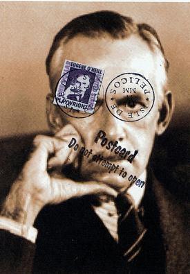 """Eugene O'Neill  4""""x6"""" postcard  #StevenGilbar #collage #assemblage"""