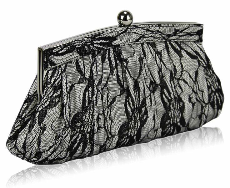 Ivory Floral Black Lace Evening Clutch Bag