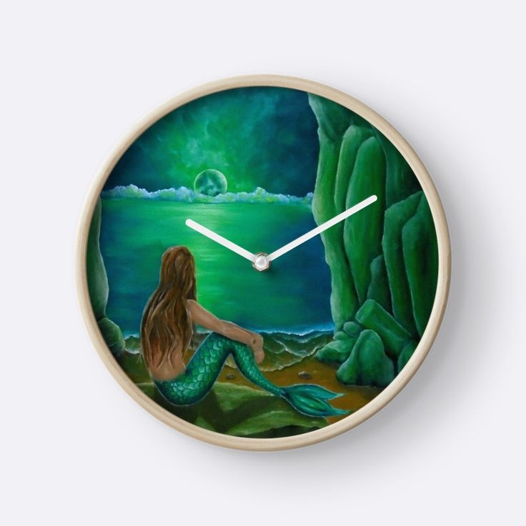 Wall Clock, artistic,decorative,items,fantasy,mermaid,green,modern,beautiful,awesome,cool,home,office,wall,decoration,gifts,presents,ideas,for sale,redbubble