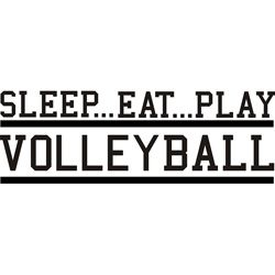 Volleyball-themed vinyl wall art. http://www.overstock.com/Home-Garden/Decorative-Sleep-Eat-Play-Volleyball-Vinyl-Wall-Art/5724548/product.html?CID=214117