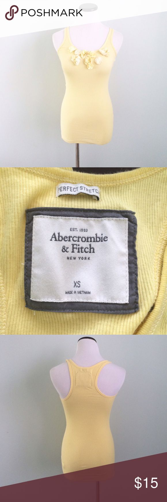Abercrombie & Fitch yellow Tank Top Ribbed Tank Top with flowers in front. Abercrombie & Fitch Tops Tank Tops