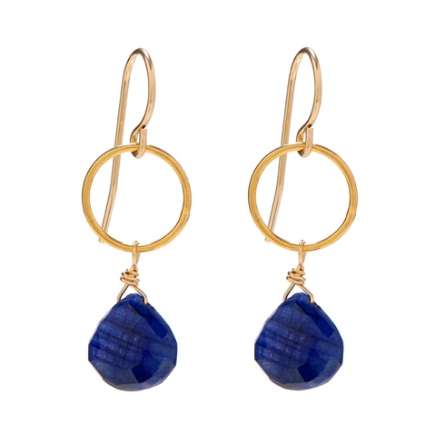 Sapphire Drop Earrings - I'd like these if they were silver or white gold and not yellow gold.