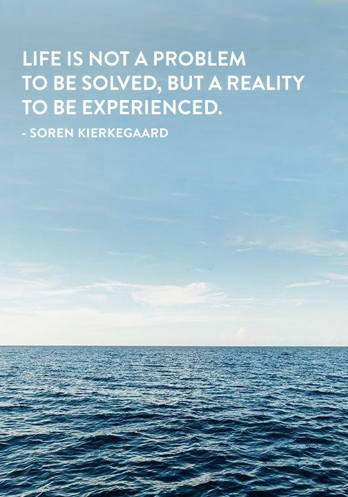 """""""Life is not a problem to be solved, but a reality to be experienced."""" — Soren Kierkegaard"""