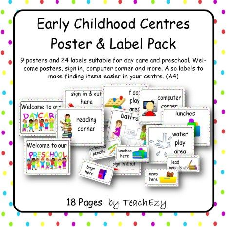 Early Childhood centre Poster Label Pack cover