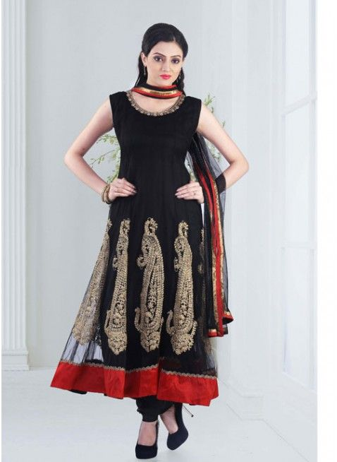 Black #anarkali_suits with floral and zari thread work