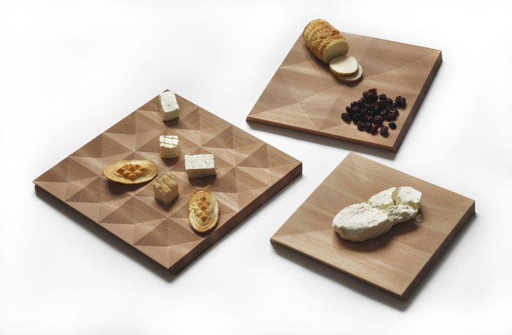 DE.SERKI Aleksandra Satława / DE.SERKI is a set of three boards for cutting and serving Polish cheeses. The design is inspired  by the diamond-shaped patterns popular in the culture and architecture of Podhale (Polish mountain region). At the same time, it evokes the shape of a mould used to make traditional Polish cheese, made with sheep milk and sold mainly in Podhale. One side of the board is used for cutting, the other one – for serving. There are three sizes for different kinds of…