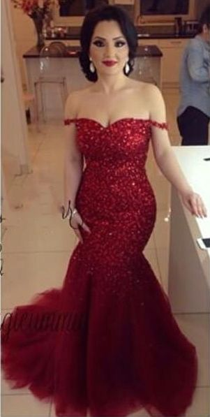 $169-Off the Shoulder Red Mermaid Prom Dresses Sexy Tulle 2016 Evening Gowns
