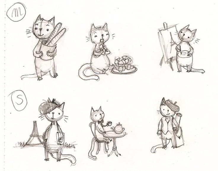 French cats sketches by Aleksandra Chabros aka Adelaida