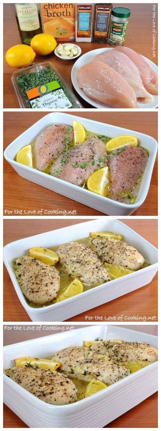 or Receta: Limón y Tomillo Pechugas de pollo 1-2 cucharadas de aceite de oliva 5-6 dientes de ajo, picados 1/3 taza de caldo de pollo de Zest 1 jugo de limón de 1 limón 1/2 cucharadita de orégano seco 1/2 cucharadita de hojas de tomillo fresco 3 sin hueso, sin piel pechugas de pollo sal marina y pimienta recién abierto, al gusto Dos ramitas de tomillo fresco 1 limón cortado en 4 trozos