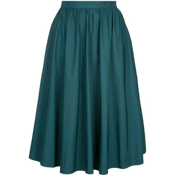 Estnation full circle skirt ($250) ❤ liked on Polyvore featuring skirts, green, blue skirt, blue green skirt, skater skirt, green skater skirt and green circle skirt