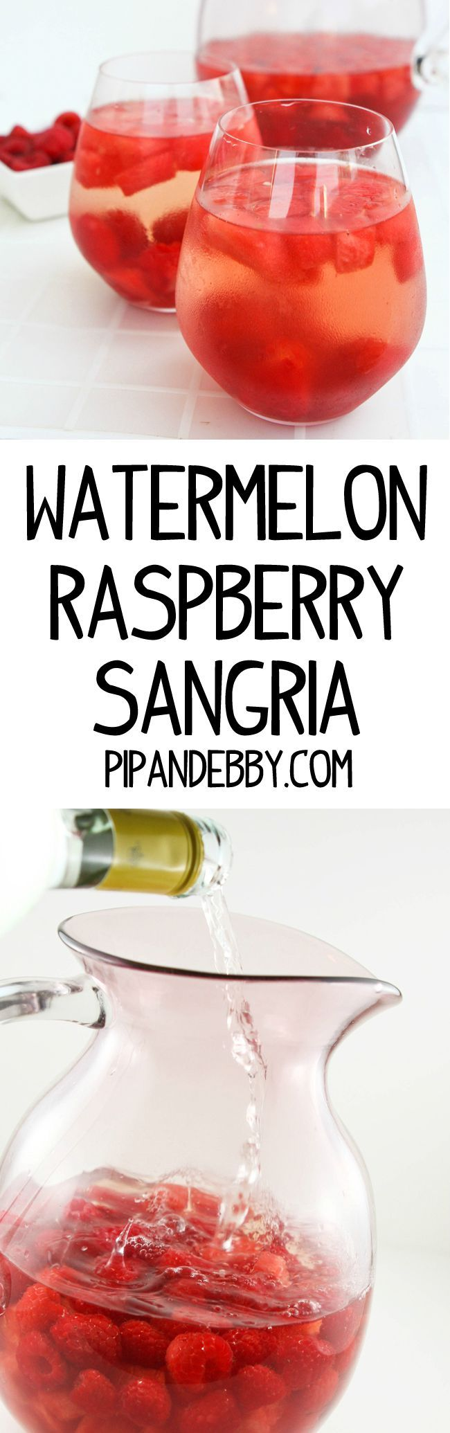 Watermelon Raspberry Sangria - Fruity, delicious and refreshing summer drink!
