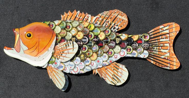 Thirsty fish tool manly man cave pinterest fish for Beer bottle cap projects
