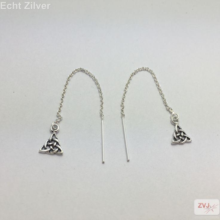 Zilveren keltische driehoek knoop doorhaaloorbellen - ZilverVoorJou Echt 925 zilveren sieraden