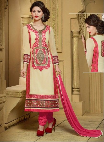 Dazzling Cream And Pink Georgette Designer Churidar suit