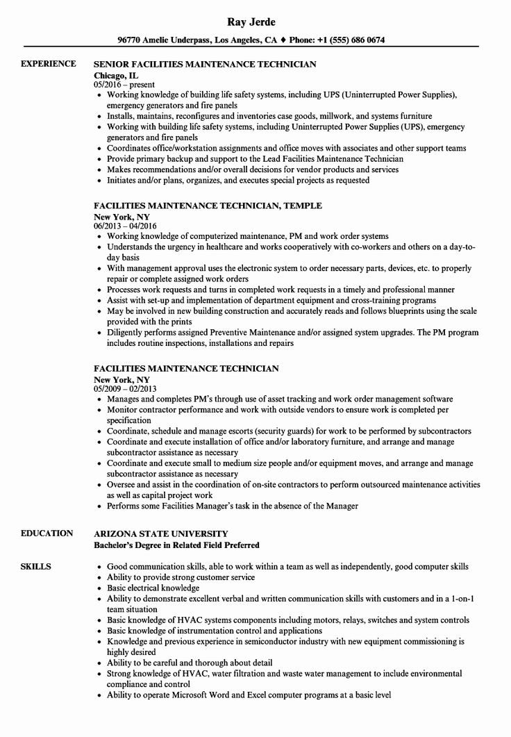 Maintenance Job Description Resume Luxury Facilities