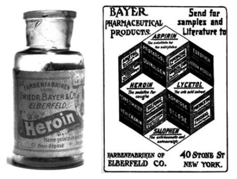 Vintage Childrens' Cough Syrup with Heroin from the Bayer Company..... WOW, I don' think so.  bizarre-cures-heroin-cough-syrup