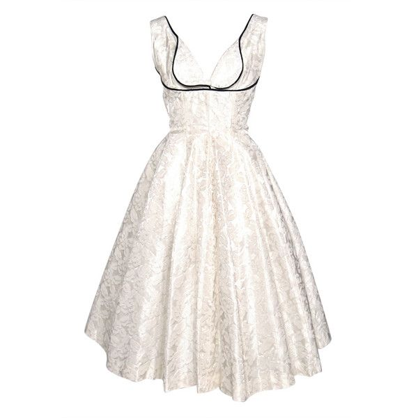 JANE HODGES NEW YORK - 1950s SHELF BUST WHITE DAMASK PARTY WEDDNG... via Polyvore