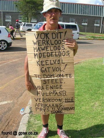 South Africa-familiar sight sadly- no work...
