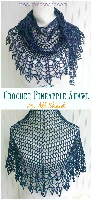 Crochet Pineapple Shawl Free Patterns Fiber Dreams Sjal Hkling