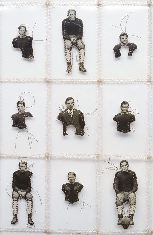 """Artist Lisa Kokin stitches together found photographs in works such as """"Specimens"""" (detail, 2000). This series by Kokin could inspire interesting family history displays..."""